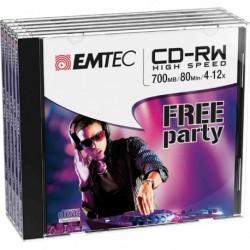 CD Riscrivibili CD-RW 80 Min/700 MB 4-12X Jewel Case (Kit 5 Pz) EMTEC.