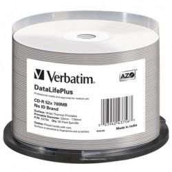 Spindle 50 CD-R DatalifePlus 1X-52X 700 MB Stampabile Termica Bianca VERBATIM.