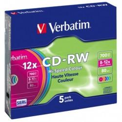 Scatola 5 CD-RW DatalifePlus Slim Case 8X-10X 700 MB Serigrafato Colour VERBATIM