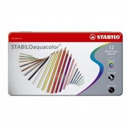 Matite colorate Aquacolor STABILO - Scatola in metallo - 2.8 mm 1612-5 (12 Pz)