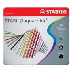Matite colorate Aquacolor STABILO - Scatola in metallo - 2.8 mm 1624-5 (24 Pz)