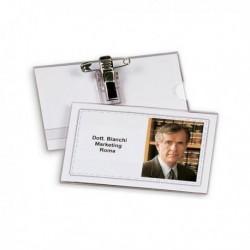 50 Portanome PortaBadge 9x5.5 con clip + spilla LEBEZ 31-090