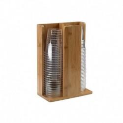 Portabicchieri - in bamboo - 21x11x30 cm - Colore Naturale - Leone