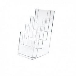 Portadepliant porta brochure in plastica TRASPARENTE 11x24x14 cm LEBEZ 5022