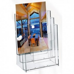 Portadepliant porta brochure in plastica TRASPARENTE 23x31x10.5 cm LEBEZ 5024