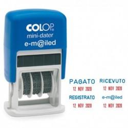 Timbro Datario + REGISTRATO S160/L3 autoinchiostrante COLOP minidatario