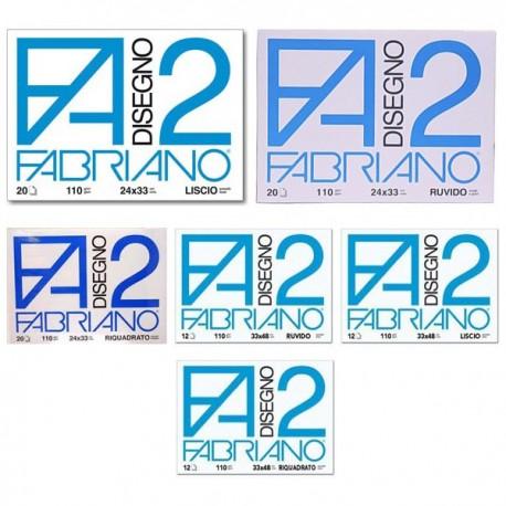 Album Disegno FABRIANO 2 Liscio 24x33 cm a 4 angoli 110 gr. 20 Fg.