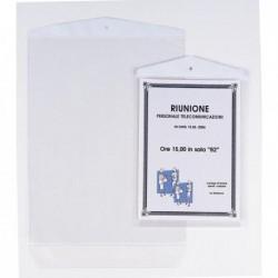 10 Buste Porta Avvisi appendibili 15x21 cm SEI ROTA 471521 in Plastica cristallo