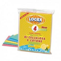 Confezione da 4 panni spugna LOGEX 18x20 cm in cotone e cellulosa