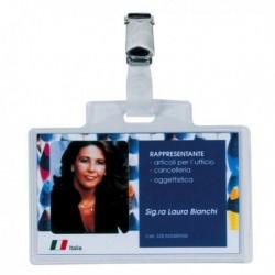 Portanome PASS 3E 9.5x6 cm con Clip in Metallo (100 Pz) in PVC trasparente