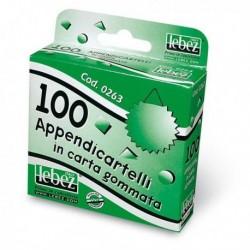 Scatola 100 Appendicartelli adesivi in carta gommata LEBEZ 263