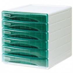Cassettiera Olivia ARDA - 6 cassetti piccoli - VERDE trasparente - TR13G6PV