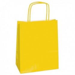Shoppers Buste (25 Pz) Carta Kraft 22x10x29 cm. Twisted GIALLO 90 gr.