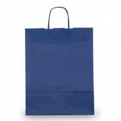 Shoppers Buste (25 Pz) Carta Kraft 45x15x50 cm. Twisted BLU 110 gr.