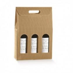 Scatola 3 bottiglie 270x90x385 mm. Onda AVANA (conf. 10 Pz) 35904C TONO SU TONO