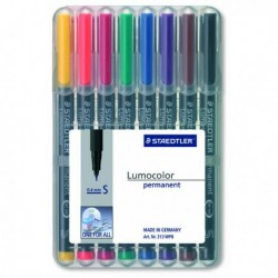 8 Pennarelli LUMOCOLOR PERMANENT 313 SF 0.4 mm. STAEDTLER 313WP8