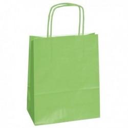 Shoppers Buste (25 Pz) Carta Kraft 26x11x34.5 cm. Twisted VERDE ACIDO. Shoppers