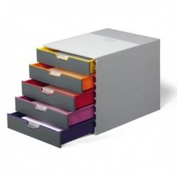Cassettiere da scrivania Varicolor - GRIGIO e MULTICOLORE - 5 cassetti - 5 cm.