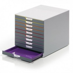 Cassettiere da scrivania Varicolor - GRIGIO e MULTICOLORE - 10 cassetti - 2,5 cm