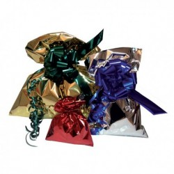 50 Buste regalo in PPL Metal Lucido 16x25 cm. Argento senza patella adesiva.
