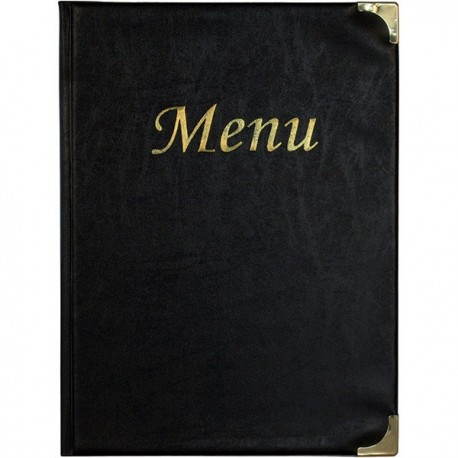 Porta Menu' A4 - 24x34 cm. Nero SECURIT. In PVC basic con 4+2 buste fisse porta