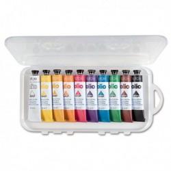 Astuccio 10 Colori a Olio 18 ml. CMP. Astuccio in polipropilene trasparente con