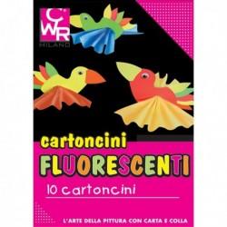 Pack 10 Cartoncini Fluo 35 X 50 cm. 260 gr. Colori Assortiti CWR 334. Cartoncino