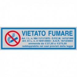 Targhetta Adesiva 165x50 mm 'Vietato Fumare' con normativa (10 Pz)